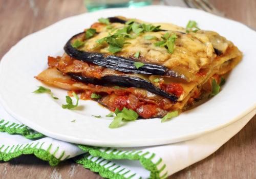 Lasagnes aubergine, brousse et pistou